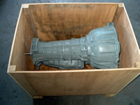 Custom Transmission Shipping Crate with an Automobile Transmission